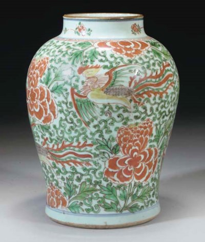 A Chinese polychrome baluster
