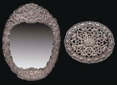 AN OTTOMAN SILVER MIRROR AND S