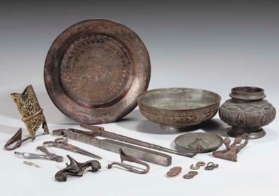 A GROUP OF BRONZE AND STEEL OB