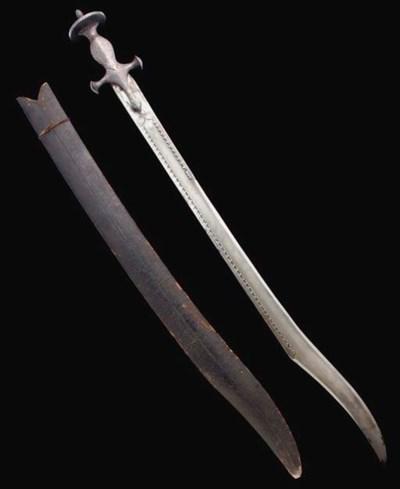 A DAMASCENED STEEL SWORD, INDI