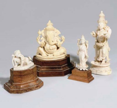 FOUR CARVED IVORY DEITIES, IND
