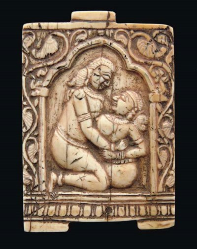A MUGHAL IVORY PLAQUE, INDIA,