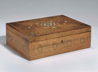 A BRASS INLAID WOODEN BOX, IND