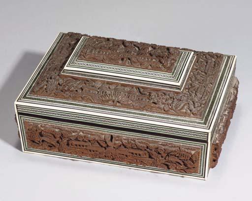 A CARVED SANDLEWOOD BOX, SRI L