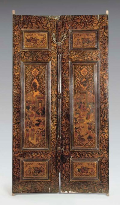 A PAIR OF QAJAR LACQUER WOOD D