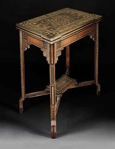 A PARQUETRY CARD TABLE, SYRIA,