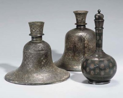TWO BIDRIWARE BELL SHAPED HUQQ