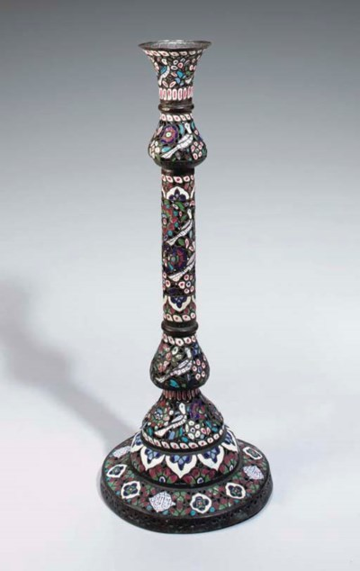 A LARGE ENAMEL LAMP STAND, SYR