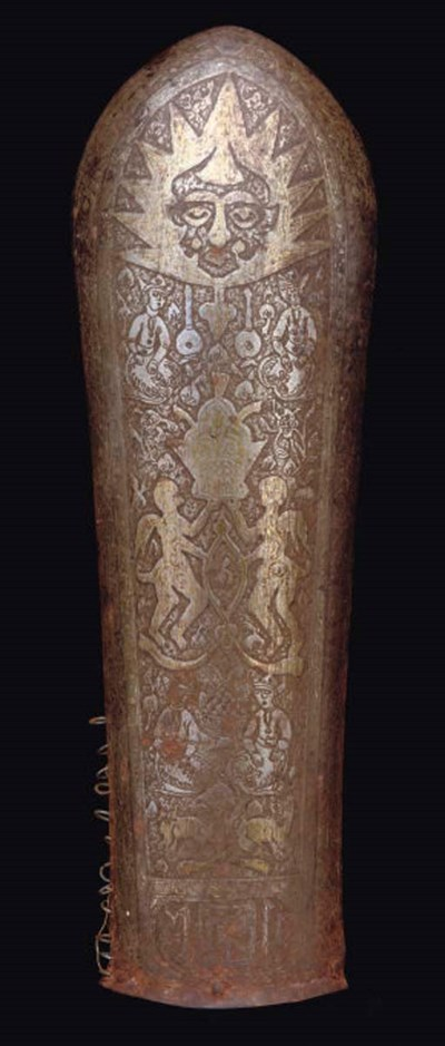 A QAJAR DAMSCENED ARM GUARD, I