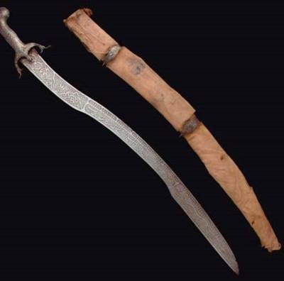 A QAJAR ETCHED SWORD, IRAN, 19