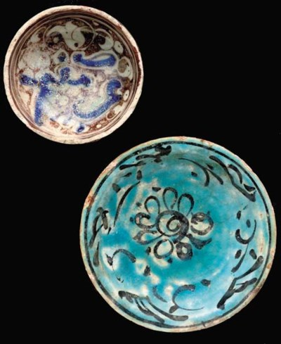 A LUSTRE PAINTED BOWLERY BOWL,