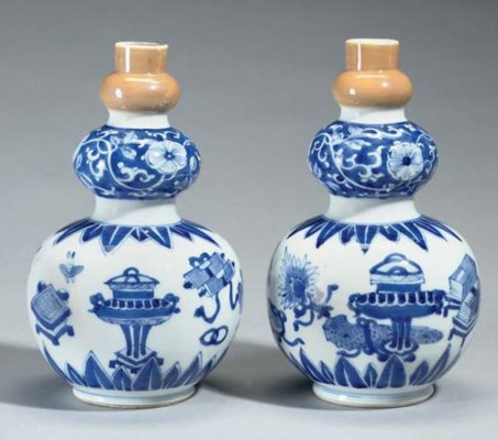 A pair of blue and white tripl