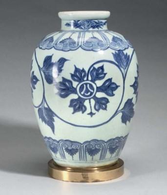 A blue and white jar, 18th cen