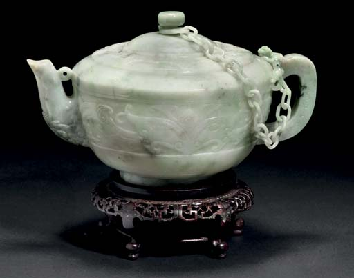A large jadeite teapot and cov