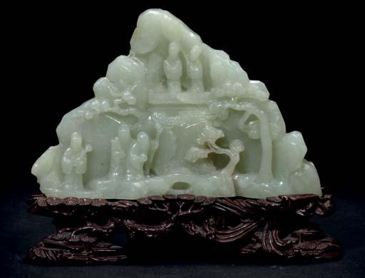 A Pale celadon jade mountain g