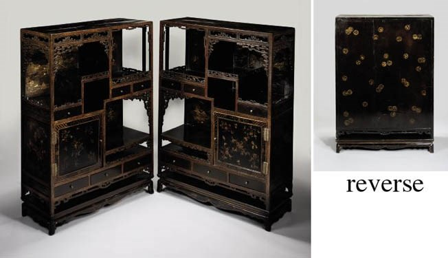 A pair of lacquer and gilt 'Pa