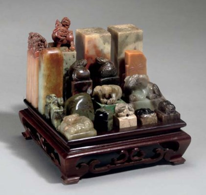 A Scholar's jade and soapstone