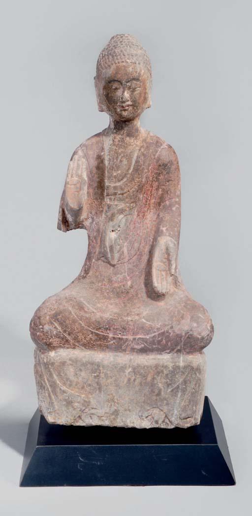 A STONE SCULPTURE OF BUDDHA, W