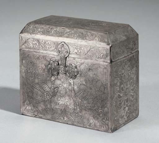 A miniature silver casket, 20t