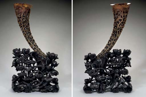 A large carved full-tip rhinoc