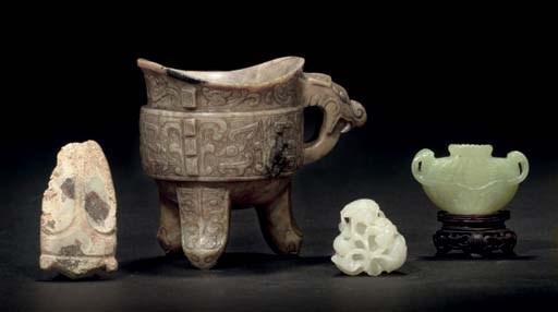 Four jade carvings, Han dynast
