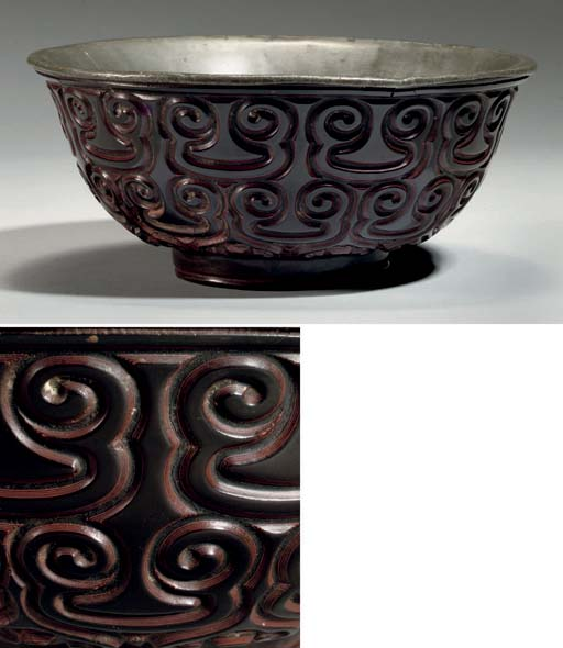 A large tixi lacquer bowl, ear