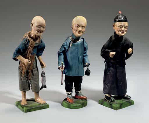 Three export painted clay figu