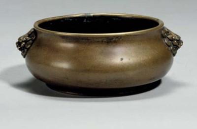 A Chinese bronze bombe censer,