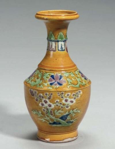 A Chinese ochre ground vase, K