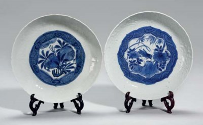 Two Chinese kraak blue and whi