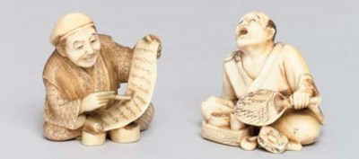 Two Japanese ivory netsuke, La