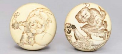 Two ivory manju netsuke, 19th