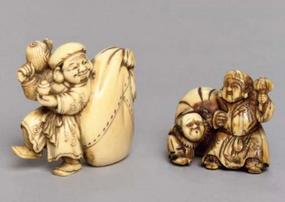 A Japanese ivory netsuke and a