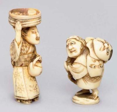 Two Japanese ivory netsuke, on