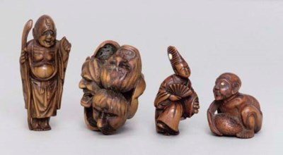 Four Japanese wood netsuke, 19