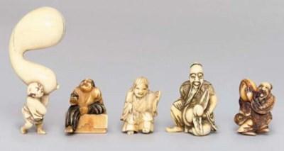 Five Japanese ivory netsuke, L