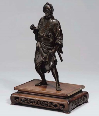 A Japanese bronze model of a S