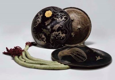 Two Japanese lacquer jingasa (