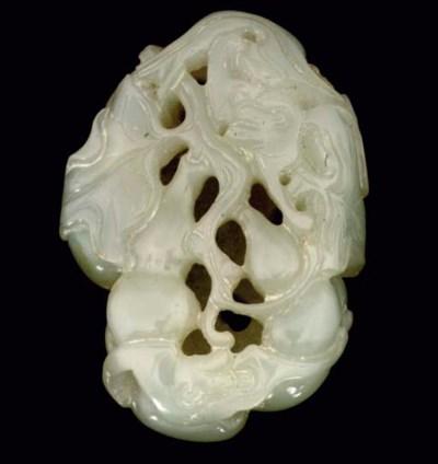 A Chinese white jade pierced p