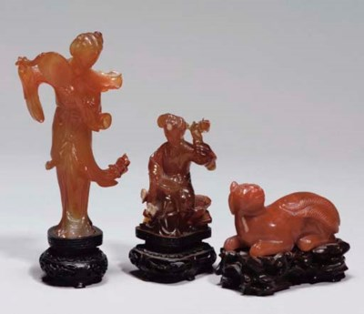 Three Chinese agate carvings,