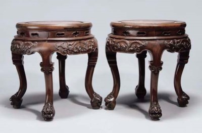 A Pair of Chinese wood stands,