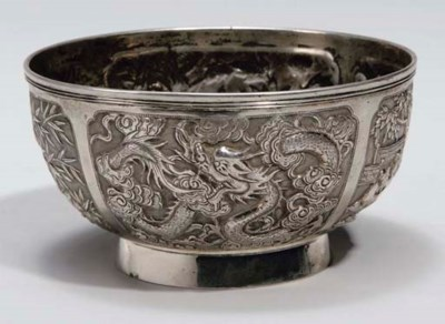 A Chinese silver repousse bowl