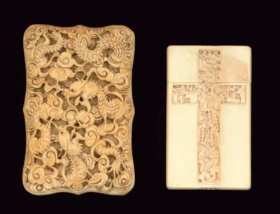 Two Cantonese ivory card cases