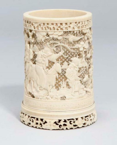 A Chinese ivory brushpot, 19th