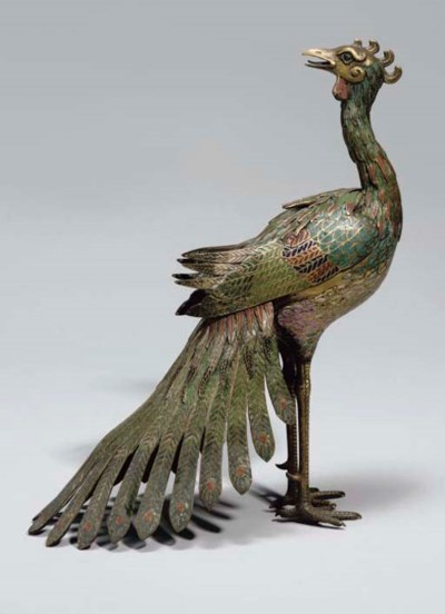 A Chinese cloisonne peacock ce