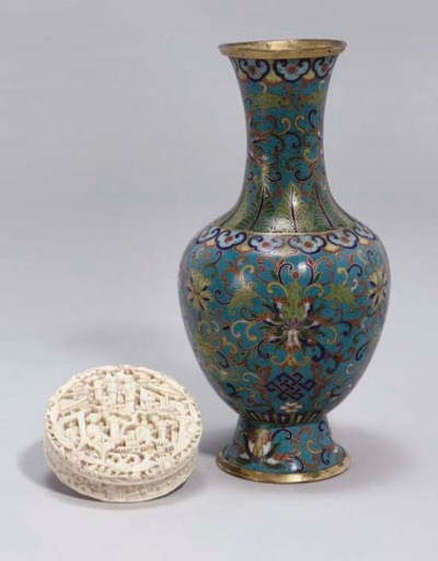 A Chinese cloisonne vase, earl