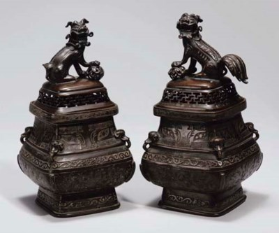 A pair of Chinese bronze cense