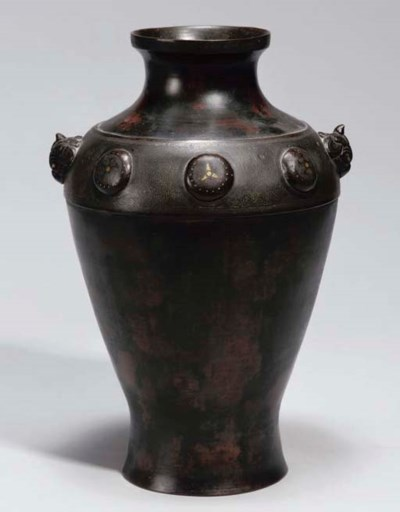 A Chinese bronze inlaid vase,