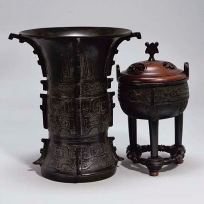Two Chinese bronzes of Gu and