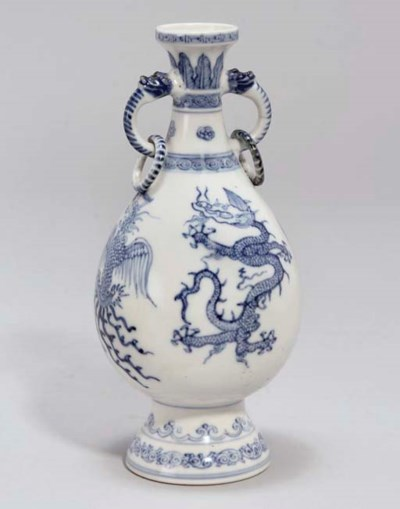 A Chinese blue and white soft